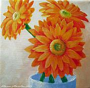 Gerbera Daisy Paintings - Gerbera Daisies by Sharon Marcella Marston