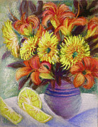 Pottery Pastels - Gerberas and Lemons by Katherine Tucker