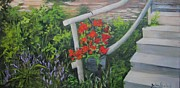 Steps Painting Originals - Gerianiums and Steps by Barbara Haviland