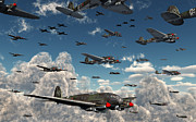 Vintage Air Planes Posters - German Heinkel He 111 Bombers Gather Poster by Mark Stevenson