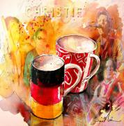 Art Miki Drawings - German Mugs and Christie by Miki De Goodaboom