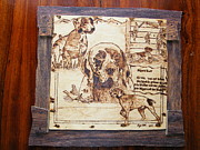 Log Cabin Art Pyrography Prints - German pointer -fine art pyrography on birch wood plaque Print by Egri George-Christian