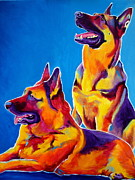 Dawgart Paintings - German Shepherd - Eiko and Erin crop by Alicia VanNoy Call