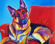 Funny Pet Paintings - German Shepherd - Zeke by Alicia VanNoy Call