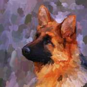 Police Paintings - German Shepherd 2 - Square by Jai Johnson