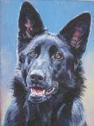 German Shepherd Posters - German Shepherd Black Poster by Lee Ann Shepard