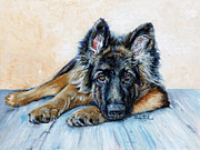 Police Painting Framed Prints - German Shepherd Framed Print by Enzie Shahmiri
