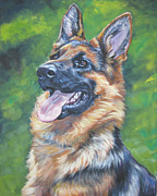 German Shepherd Posters - German Shepherd Head Study Poster by Lee Ann Shepard