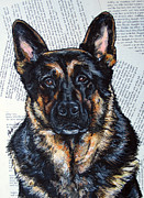 Police Art Painting Prints - German Shepherd Headshot Print by Christas Designs
