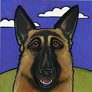 Police Painting Framed Prints - German Shepherd Framed Print by Leanne Wilkes