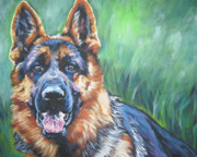 Alsatian Posters - German Shepherd Poster by Lee Ann Shepard