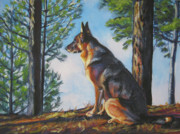 German Shepard Dog Prints - German Shepherd Lookout Print by Lee Ann Shepard