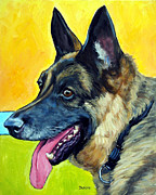 German Shepherd Profile On Gold Print by Dottie Dracos