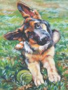 Tennis Painting Posters - German shepherd pup with ball Poster by L A Shepard