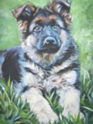 Alsatian Posters - German Shepherd Puppy Poster by Lee Ann Shepard
