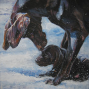 German Pointer Prints - German Shorthaired Pointer and puppy Print by Lee Ann Shepard