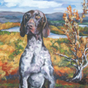 German Shepard Posters - German Shorthaired Pointer Autumn Poster by Lee Ann Shepard