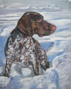 Shorthaired Prints - German Shorthaired Pointer in the Snowdrift Print by L A Shepard