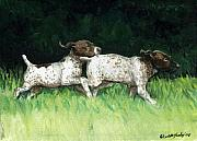 Shorthaired Prints - German Shorthaired Pointer Pups Print by Charlotte Yealey