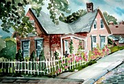 Roof Drawings Posters - German Village House Poster by Mindy Newman