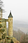 Foggy Prints - Germany - Elbtal from Festung Koenigstein Print by Christine Till