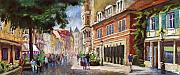 Old Pastels Prints - Germany Baden-Baden Lange Str Print by Yuriy  Shevchuk