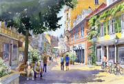 Old Buildings Paintings - Germany Baden-Baden Lange Strasse by Yuriy  Shevchuk