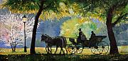 Germany Paintings - Germany Baden-Baden Lichtentaler Allee Spring  by Yuriy  Shevchuk