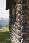 Mountain Cabin Posters - Germany, Bavaria, Log Cabin With Mountain In Background Poster by Ulrich Matuschowitz