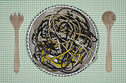 Salad Posters - Germany, Frankfurt, Cable Spaghetti In Salad Bowl With Salad Servers Poster by Westend61
