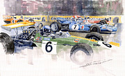 Ford Watercolor Framed Prints - Germany GP Nurburgring 1969 Framed Print by Yuriy  Shevchuk
