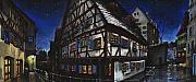 Featured Pastels Prints - Germany Ulm Fischer Viertel Schwor-Haus Print by Yuriy  Shevchuk