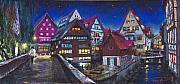 Old Pastels Framed Prints - Germany Ulm Fischer Viertel Framed Print by Yuriy  Shevchuk