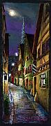 Old Street Pastels Posters - Germany Ulm Old Street Night Moon Poster by Yuriy  Shevchuk