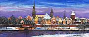 Cityscape Pastels Framed Prints - Germany Ulm Panorama Winter Framed Print by Yuriy  Shevchuk