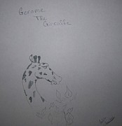 Pencil On Canvas Framed Prints - Gerome The Giraffe Framed Print by Laurie Kidd