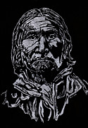 Hand Drawn Glass Art - Geronimo by Jim Ross