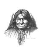 Pencil Portraits Drawings Posters - Geronimo Poster by Lee Updike