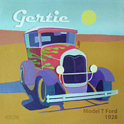 Antique Automobiles Posters - Gertie Model T Poster by Evie Cook