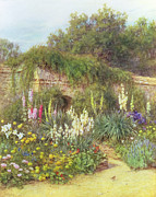 Surrey Metal Prints - Gertrude Jekylls Garden Metal Print by Helen Allingham