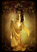 Grapes Art Digital Art Framed Prints - Geshtinanna Lady of the Vine Framed Print by Shanina Conway