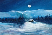 Drifting Snow Painting Prints - Get Away Cabin Print by George Richardson