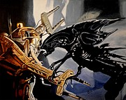 Alien Painting Originals - Get Away From Her You Bitch by Al  Molina