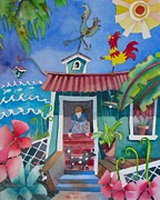 Kauai Dog Posters - Get Off The Roof Poster by Codie Carman