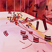 Hockey Painting Metal Prints - Get Up And Skate Metal Print by Yack Hockey Art