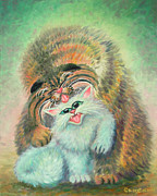 Humorous Cat Paintings - Get Yer Licks In by Baron Dixon