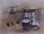 Helicopters Paintings - Getting Dirty by Stephen Roberson