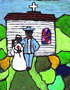 Folk Art Paintings - Getting Married Today by Wayne Potrafka