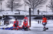 Pond Hockey Framed Prints - Getting Ready Framed Print by Don Nieman