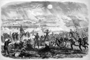 War Art Framed Prints - Gettysburg Battle Scene Framed Print by War Is Hell Store